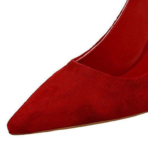 AalarDom Femme à Talon Haut Pointu Tire Chaussures Légeres Rouge-9CM