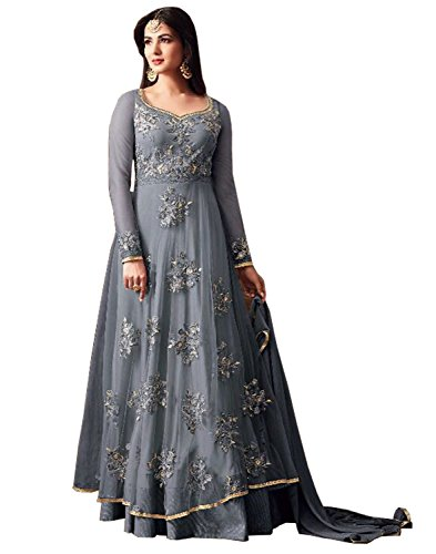 SareeShop Women\'s Gown Latest Party Wear Design Georgette Embroidery Semi Stitched Free Size Salwar Suit Dress Material (JuliGrey)