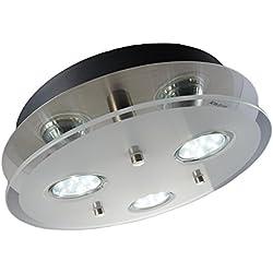 LED plafón con con tres luces led GU10 de3W de potencia - y 250lúmenes - color níquel mate -plafòn redondo para salòn y dormitorio