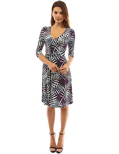 PattyBoutik Damen geometrisches faux wrap Sonnenkleid mit V-Ausschnitt hellgrün, lila und schwarz