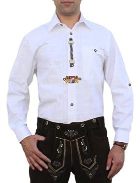 Trachtenhemd für Trachten Lederhosen Oktoberfest Trachtenmode wiesn weiß