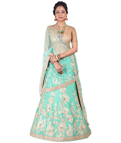 Indian Ethnicwear Bollywood Pakistani Wedding Aqua A-Line Lehenga Semi-stitched