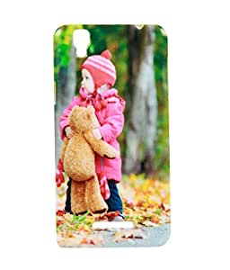 Exclusive Rubberised Back Case Cover For Micromax Yu Yureka AO5510 - Cute Baby With Teddy