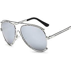 Aierwish Herren und Damen Neue Retro Metall Persönlichkeit Sonnenbrille Mit Brillenbox (8)