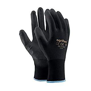 24Paires de sécurité avec revêtement Noir Gants de Travail Jardin Grip pour Homme Builders Jardinage - 9 (L)