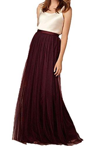 uideazone Frauen Tüll Röcke Plissee Ausgestellte Voller Länge Elegante Röcke Weinrot L