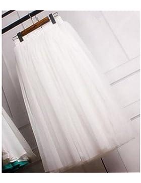 Mujer Faldas,Línea A Un Color Tul,Adorable Tiro Medio Noche Midi Elasticidad Spandex / Poliéster Micro-elástica...