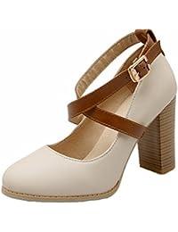AgooLar Damen Stiletto Rein Ziehen auf Spitz Zehe Pumps Schuhe, Rot, 32