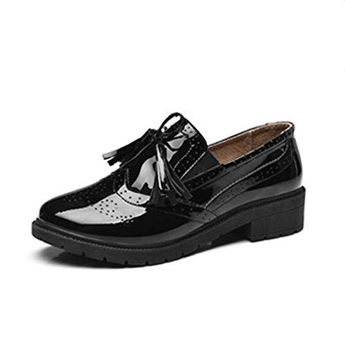 Frauen Oxfords MüßIggäNger Schuhe Herbst Gummiband Schmetterling Knoten AushöHlen Punkte Weibliche Quaste Lackleder Schuhe
