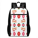 Homebe Rucksäcke,Daypack,Schulrucksack Cute Pink Strawberry Shortcake Fabric (4465) Laptop Backpack for Women Men Stylish Backpack College School Backpack Business Travel Durable Backpack Fit Laptop