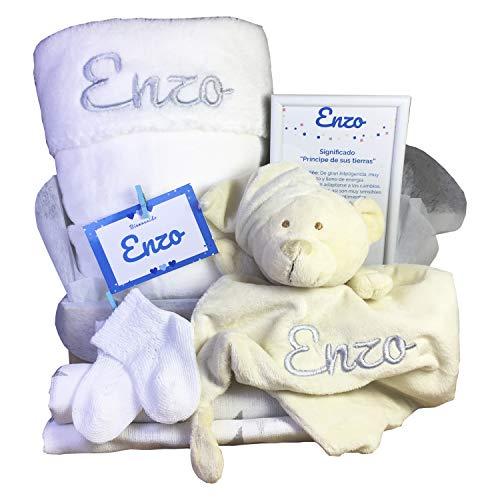 MabyBox True colours | Canastilla bebe | Regalo Babyshower | Cesta Bebé Recien nacido Personalizada (Blanco)