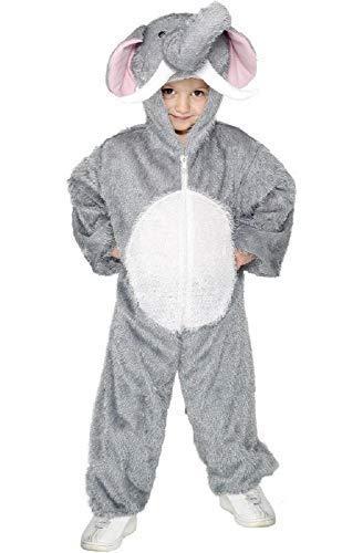 Mädchen Jungen Kinder Elefant Dschungelbuch Wildes Tier Overall Einheitsgröße Büchertag Halloween Kostüm Verkleiden Outfit - grau, grau, 7-9 Years
