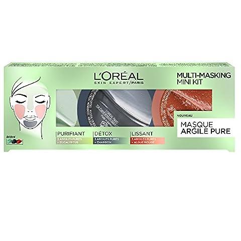 L'Oréal Paris Coffret Masque uni-dose visage à base d'argile (Ghassoul,