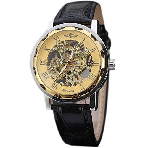 JoyRolly Reloj mecánico automático Esqueleto de Cuero PU Vintage para Hombre Reloj Dorado y Dorado