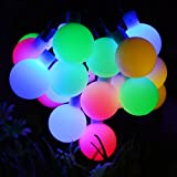 Dephen Solar String Lights 20ft 30 LED Berry Ball Waterproof Outdoor String Lights,Solar Christmas Fairy Lights for Garden, Party, Wedding, New Year, Home Decoration(Multi-color)