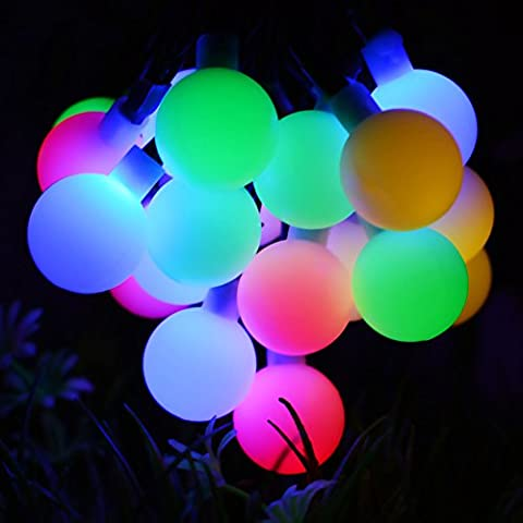 Dephen Solar String Lights 20ft 30 LED Berry Ball Waterproof Outdoor String Lights,Solar Christmas Fairy Lights for Garden, Party, Wedding, New Year, Home