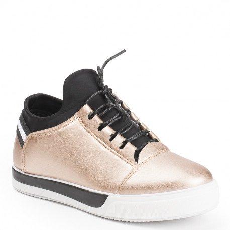 Ideal Shoes - Baskets nacrées avec languette en néoprène Nihama Champagne
