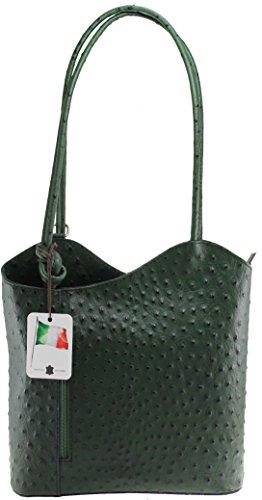 CTM Borsa da Donna a Spalla in Pelle di Struzzo, 28x30x9cm, Vera Pelle 100% Made in Italy Verde