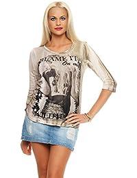 Key Largo T-Shirt femmes Haut à manches longues RICHE rond