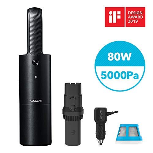 COCLEAN Aspirador de Mano sin Cable, Aspirador portátil de Coche,5000PA,Luz LED, Batería de 4400mAh,Boquilla...