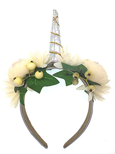 Einhorn Haarreife mit bunten Blumen Baby Kinder Mädchen Kopfschmuck Kostüm-Party (weiß) (China Kostüm Kopfschmuck)