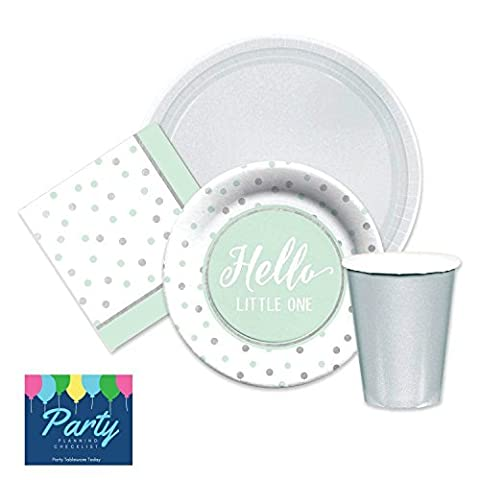 Elegant Hello Little One Green & Silver Baby Shower Party Supplies for 16 Dinner Plates, dessert plates, napkins paper