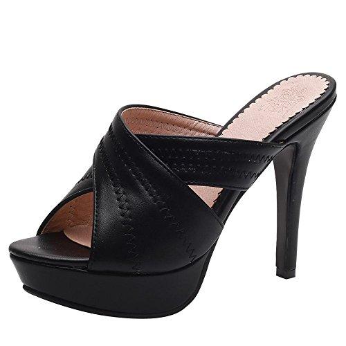 YE Damen Offene High Heels Plateau Mules Slingback Sandalen Stilettos Pantoletten Sommer Elegant Party Schuhe (Heels Plateau Slingback High)