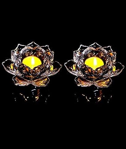 12,7cm Kristall Lotus Flower Kerzenständer Glas Teelicht Meditation Kerzen Halter