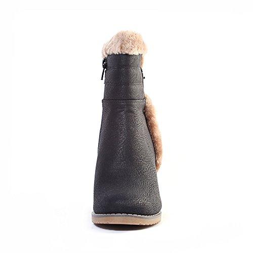 Alexis Leroy Bottes de neige fourrées compensées femme Noir