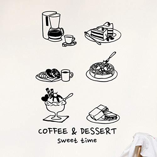 Olivialulu Coffee Shop handbemalt Stil dekorative Elemente Glas Aufkleber Kuchen Kaffee Dessert Shop Wand Dekoration Wand Home Aufkleber Decals -
