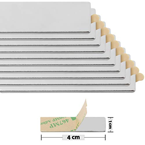 Magnastico Neodym Quadermagnete Selbstklebend 40 x 12 x 1 mm 20 Stück Magnet für Magnettafel,Kühlschrank,Pinnwand Extra starke Klebemagnete Flach Dünn