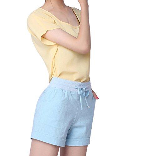 Dexinx Damen nehmen im Freien Täglich Leben Sport Hosen mit Taschen Sommer Einfarbig Weich Gymnastik Trainings Shorts Himmelblau 5XL (Das Leben Ist Gut Lounge-hose)