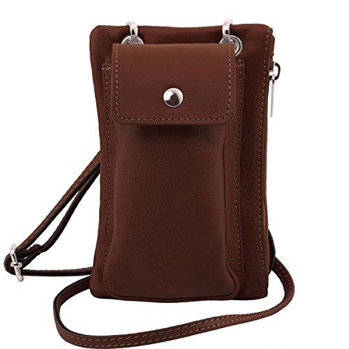 Tuscany Leather TL Bag Tracollina Portacellulare in pelle morbida Celeste Marrone