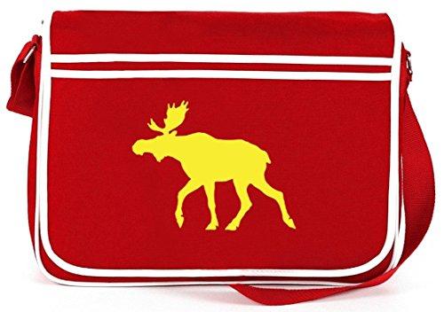 Shirtstreet24, ELCH, Schweden Skandinavien Retro Messenger Bag Kuriertasche Umhängetasche Rot