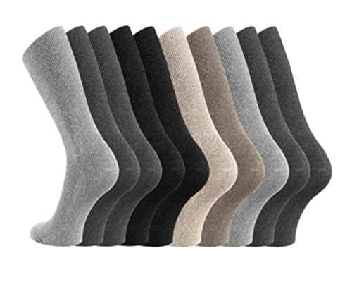 2974a176e0ac4 Wowerat Lot de 10 paires de chaussettes antidérapantes sans élastique Noir  47-49