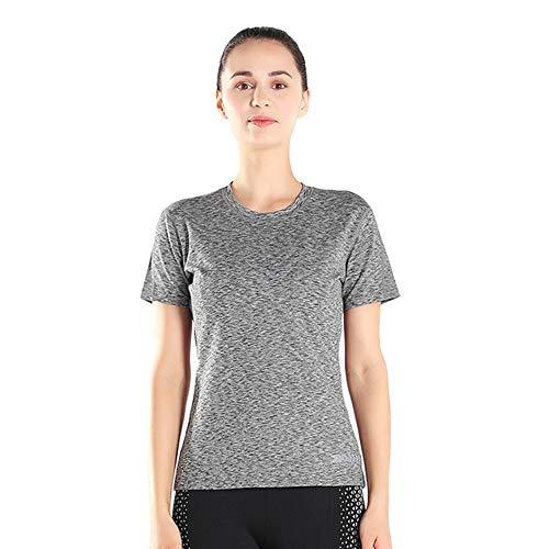 J-tumia camicie sportive da donna back mesh workout magliette yoga traspirante canotte running fitness sport manica corta tees (colore : grigio, dimensione : xl)