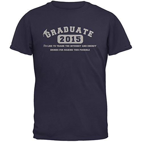 Graduate Internet Energy Drink Funny Graduation Navy Adult T-Shirt