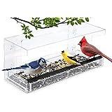 Garden Point Comedero para Pájaros para Ventana con 4 Ventosas | 30 x 14 x 10 cm | Transparente | Estación de Alimentación de