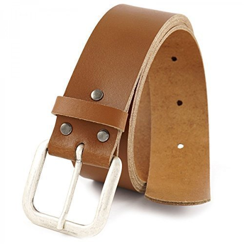 Echtledergürtel Schwarz Braun Vintage Gürtel Ledergürtel 100% Echt Leder 20392, Größe:100cm;Farbe:Hellbraun