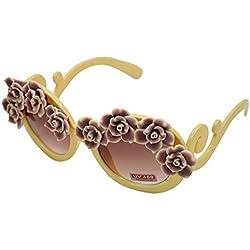 AiSi Damen Mädchen Retro Sonnenbrille Anti-UV Brille Gr. One Size Blumen Design beige