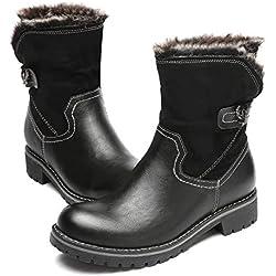 gracosy Botas de Nieve para Mujeres Otoño e Invierno Urbano Suave y Cómodo Pieles Estilo Clásico Botas Altas Mantener Caliente Peludo Talón Plano, Negro, 41