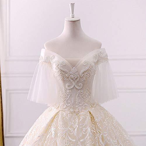 Applique Perlen (ZSRHH-Kleid Frauenkleid Long Tail Simplicity mit Perlen Tüll Applique V-Ausschnitt Brautkleid genäht (Design : Flat, Size : L))