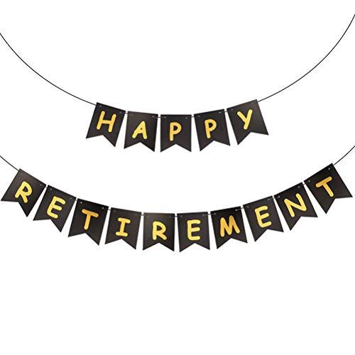 BESTOYARD GLÜCKLICH Ruhestand Banner Papier Fahnen Bunting Garland für Retirement Party Dekorationen 2,4 m (Dekorationen Party Retirement Für)
