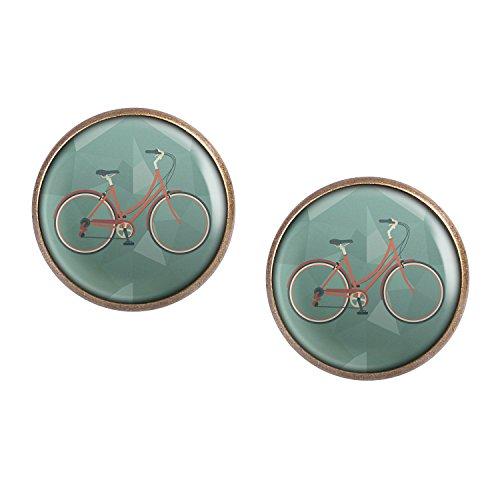 Mylery Ohrstecker Paar mit Motiv Damen-Rad City-Rad Stadt-Rad Rot bronze 16mm