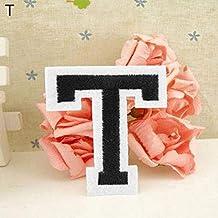 Parche bordado con la letra del alfabeto inglés, para coser o planchar T