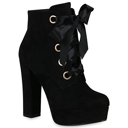 Plateau Boots Damen High Heels Stiefeletten Satinoptik Schuhe 148335 Schwarz All 39 | Flandell® (Kostüme High Heels)