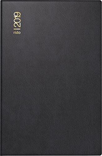 rido/idé 701621290 Taschenkalender Industrie II, 1 Seite = 2 Tage, 75 x 112 mm, Kunststoff-Einband schwarz, Kalendarium  2019