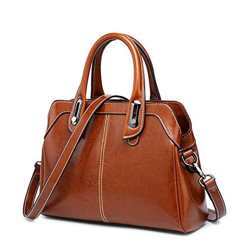 Guess Leder Kupplung (LAIDAYE Damentaschen Clutches Kupplungen Handtaschen Aus Leder Kapazität Retro Große Kapazität Vintage Top-Griff Lässig Tote Umhängetaschen (klassischen Stil Style,Brown)