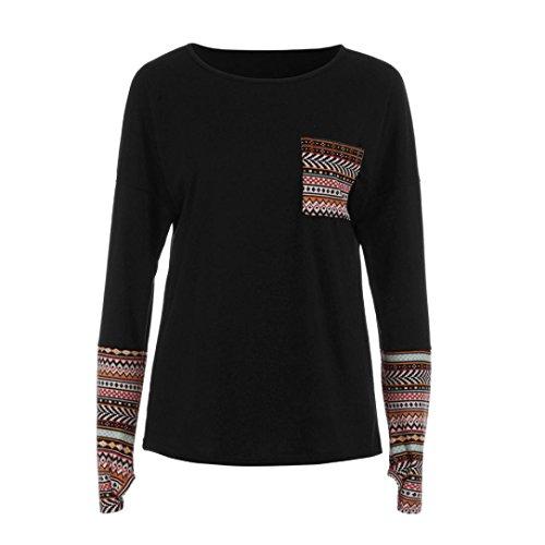 OVERDOSE Mokingtop Damen Floral Splice Printing Rundhals Pullover Bluse Tops T-Shirt (2XL, C-A-Black)