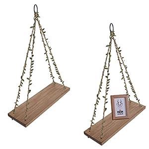 OROPY 2er Set Schweberegal mit Schaukel Seil - Wandboard Hängeregal Holz Regal - Wohnaccessoires Dekoratives Kiefer Regal mit Blatt Seil - Wandregal Deko Schweberegal 40cm